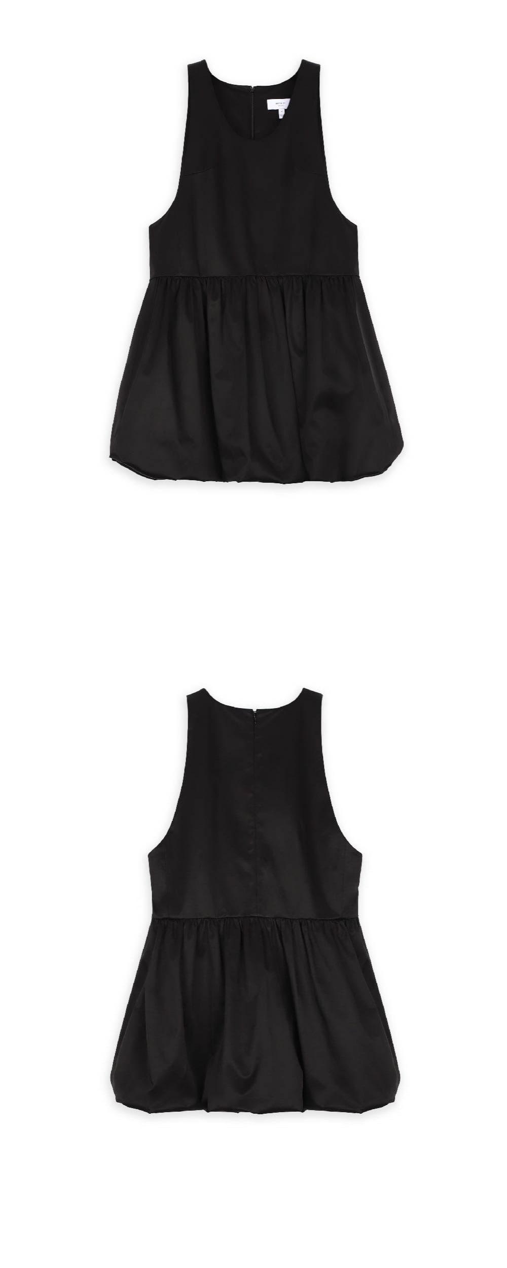 워브먼트(WOVEMENT) 벌룬 햄라인 턱스 드레스 블랙